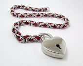 Slave Collar in Red and Silver with Heart Padlock - Byzantine Weave Chainmaille Day Collar Fetish Bondage BDSM – Handmade Choker