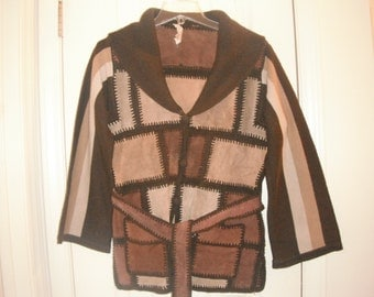 70's suede leather and knit patchwork jacket