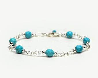 Turquoise Bracelet - Sterling Silver Chain and Link Bracelet - Dainty Gemstone Bracelet - December Birthstone Jewelry