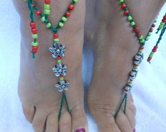 Crochet Barefoot Sandals Beach Wedding  Yoga Shoes Foot Jewelry Silver  Green Red