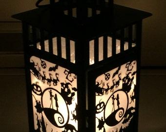 Nightmare Before Christmas Inspired Patterned Metal Lantern