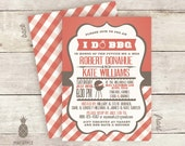 I Do BBQ Couples Shower Invitations - Colors Shown: Faded Red and Grey Brown