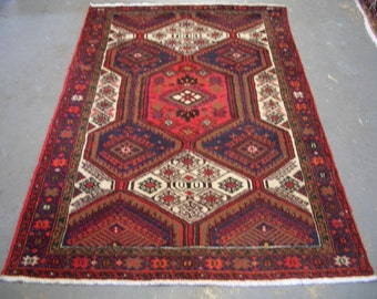 1980s Hand-Knotted Hamadan Persian Rug (3259)