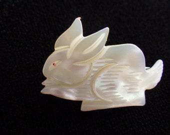 Vintage Bunny Brooch Carved Mother of Pearl