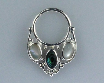 Silver Plated Brass Septum Ring with Mother of Pearl Shell and Abalone Shell Inlay (brass septum 006)