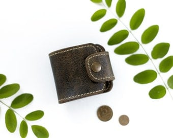 Leather Coin Wallet, Сoin Purse Wallet, Aged Olive Leather Pouch