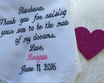 Personalized Wedding Handkerchief for your Mother in Law.......Free Gift Box