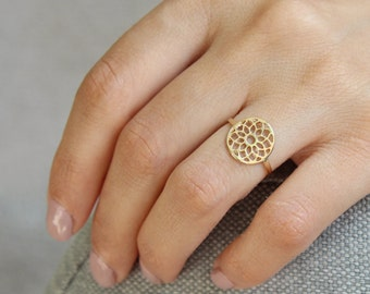 Lotus gold ring • Thin gold ring with lotus flower ornament • Gift for her