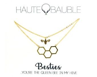 Queen Bee Best Friend Necklace Set