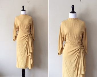 vintage 1940s dress / mustard yellow 40s dress / chartreuse rayon day dress