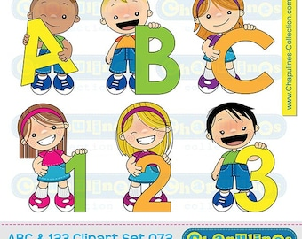 60% off ABC and 123 Clipart, kids clipart, school clipart, kids illustrations, numbers and letters clipart, school graphics set 072