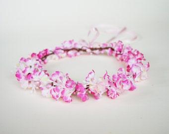 Flower crown, Bridal circlet, Pink flower girl crown, Bridal flower halo, Wedding hairpiece, Floral headband, Pink hair accessory