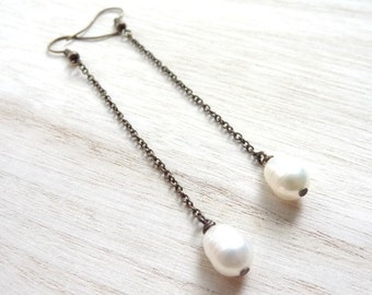 Simple bronze freshwater pearl dangle handmade earrings jewelry