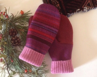 Womens stripe wool mittens // upcycled lambswool sweater gloves // size large red pink bright stripe // UK seller