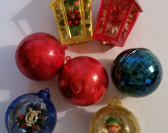 Vintage Christmas Ornaments 1960's Molded Plastic Ornaments Collection of 7 Lanterns and Bulbs 60's Christmas Tree Decorations