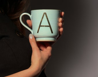 Large Initial Ceramic Coffee or Tea Mug