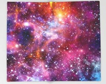 Galaxy Blanket Fleece Violet Blanket Nebula Flano Blanket Kid Blanket Modern Blanket Space Blanket Cozy Blanket Violet Blanket Soft blanket