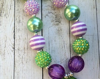 Purple and Green Tinkerbell chunky beaded necklace