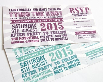 Festival Wedding Invitation with RSVP card - Festival ticket SAMPLE