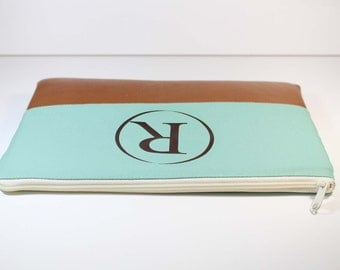 13 inch Macbook Pro Case Monogrammed Macbook Air 13 Leather Case Padded Laptop Cover-  Pastel Green