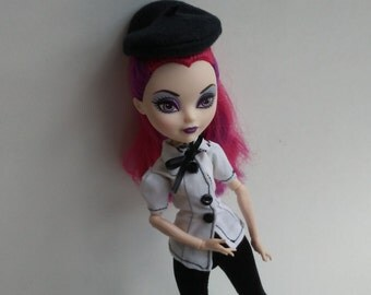 French Ever After Doll Top and Leggings Set with Beret Hat Monster Doll Outfit Black and White