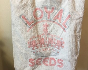 Loyal Seeds Vintage Re-Purposed Tote Bag / Shoulder Bag
