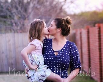 Mama Lauren Pintuck Top, Tunic & Dress PDF Sewing Pattern Sizes