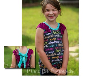 Girls Ella Knit Top PDF Sewing Pattern Sizes 1/2-14