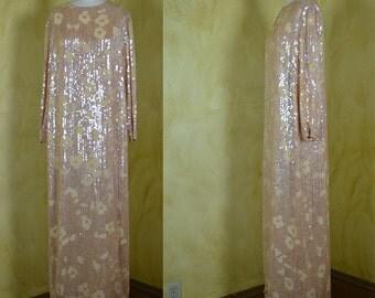 Halston 1970s Stellar Chiffon & Sequin Custom Gown