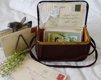 Vintage Box purse Postcard size display or storage hand bag
