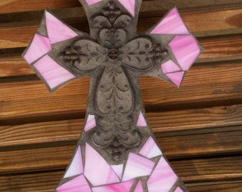 Pink Mosaic Cross,Mosaic stained glass tile wall cross, mosaic wall hanging