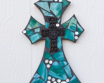 Teal Green Mosaic Cross ,Mosaic stained glass tile wall cross, mosaic wall hanging