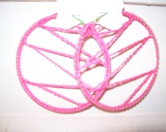 Pink Over Green Hoop Earrings