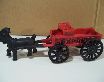 Vintage Cast Iron Red Express Goat Cart Toy