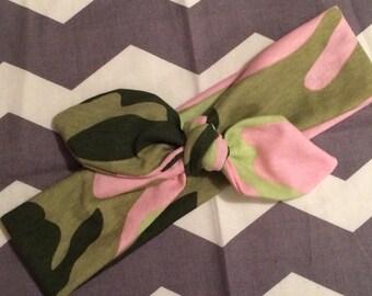 Camo Knot Headband, Pink Camo, Pink Camouflage, Knot Headband, Baby Headband, Child Headband, Adult Headband