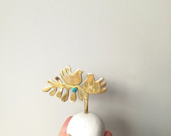 Birds on a tree sculpture, two brass doves sculpture on a white marble pebble base, lost wax sculpture, made to order birdies sculpture