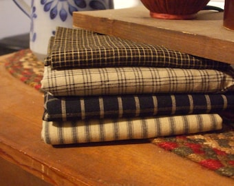 Homespun Fabric Bundle-Black and Tan #2