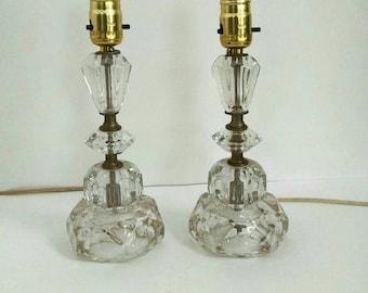 Mid Century Lamps Glass Art Deco Shabby Chic Boudoir Lamps