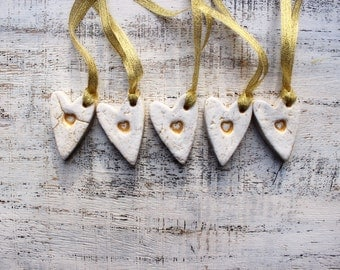 Rustic heart ornaments cottage chic gold white wedding favours bridal shower birthday party favours baby shower boho