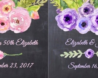"""Personalized Favor Labels - Watercolor Floral Design - Pink or Purple - Choice of Background 12 3"""" Squares - Wedding - ANY OCCASION - ppwk2"""