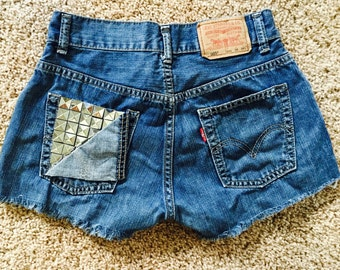 FLASH SALE! One of a kind Studded Pocket 25/26 High Waist Levi Shorts
