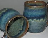 Pottery Mug, Large 16 oz in Plum Blue, Wheel Thrown, Microwave Dishwasher Safe