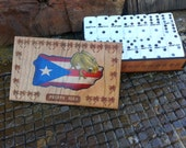 "Double six domino set with handmade ""Puerto Rican"" flag & Coqui wooden box"