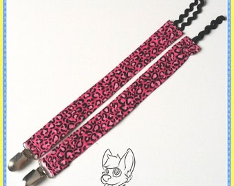 ABDL Adult Baby Cloth Pink Leopard Pacifier Clip
