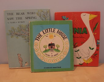 Set of Three Vintage Children Books- The Little House, Petunia, The Bear Who Saw the Spring