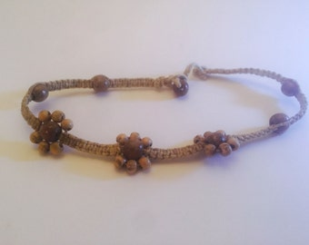 Mahogany Flower Hemp Necklace