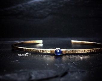 Genuine Sapphire Skinny Cuff / Sterling Silver or 14k Gold Fill Sapphire Cuff Bracelet / September Birthstone Jewelry / Blue Gemstone Cuff