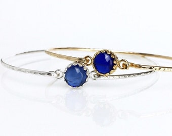 Genuine Sapphire Bangle / Sterling Silver or 14k Gold Fill Sapphire Bracelet / September Birthstone Gift for Her / Mothers Jewelry Push Gift