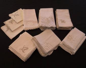50 Vintage Wedding Napkins - Ecru, Beige