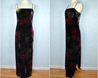 Vintage Velvet Formal Dress, Vintage Velvet Roses Gown